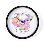 Qinzhou China Map Wall Clock
