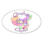 Qinzhou China Map Oval Sticker (10 pk)