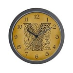 Celtic Letter Y Wall Clock