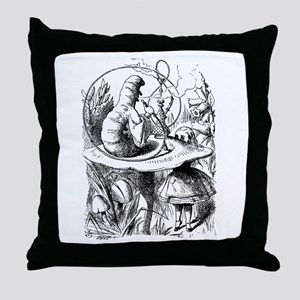 Alice meets the Caterpillar Throw Pillow