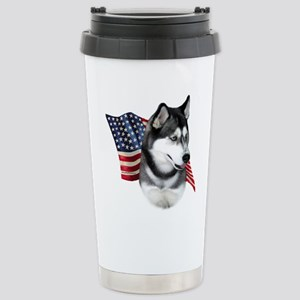 Husky(blk) Flag Stainless Steel Travel Mug
