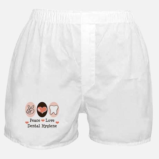 Peace Love Dental Hygiene Boxer Shorts