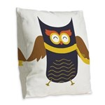 Awesome Owl Burlap Throw Pillow