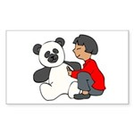 Girl with Panda Rectangle Sticker