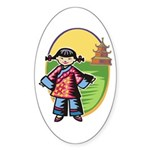 Chinese Girl Oval Sticker