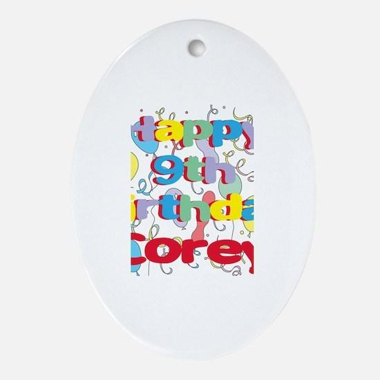 Corey's 9th Birthday Oval Ornament