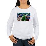 Xmas Magic & Choc Lab Women's Long Sleeve T-Shirt
