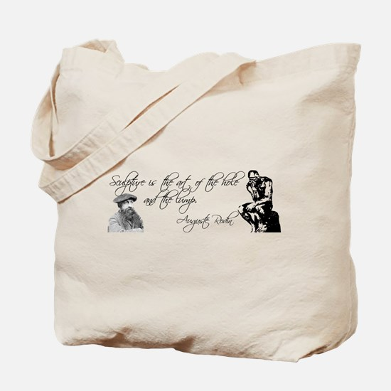 Rodin Thinker and Quote Tote Bag