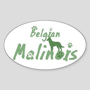 Pastel Green Malinois Oval Sticker