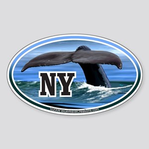 NY New York Whale Tail Fluke Decal Oval Sticker