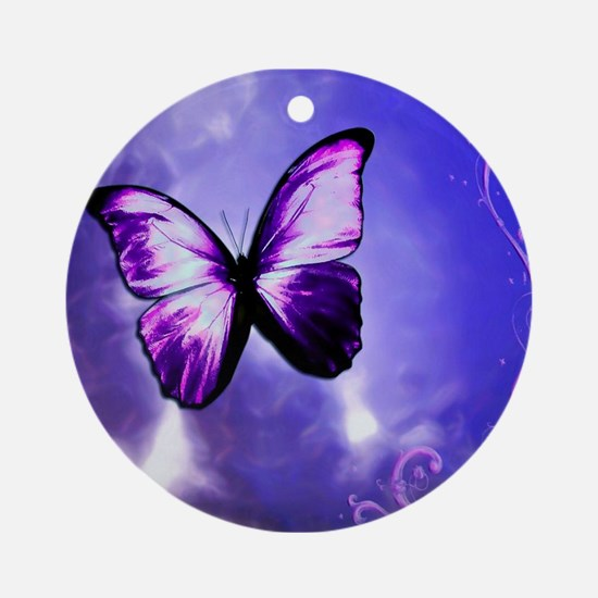 Purple Butterfly Ornament (Round)