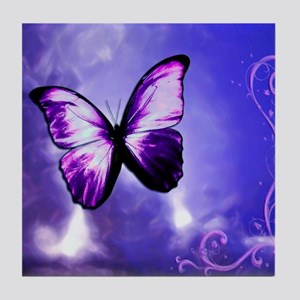 Purple Butterfly Tile Coaster