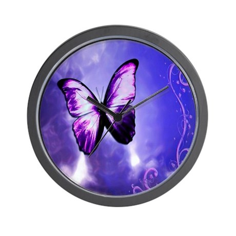 Purple Butterfly Wall Clock By Fairystarangel