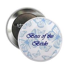 Boss of the Bride Blue Butterflies Button
