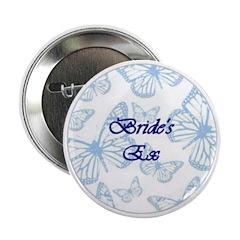 Bride's Ex Blue Butterflies Button