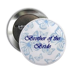 Brother of the Bride Blue Butterflies Button