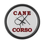 Cane Corso Logo Red Large Wall Clock