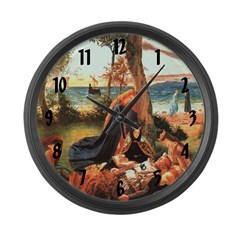 King Arthur In Avalon Large Wall Clock