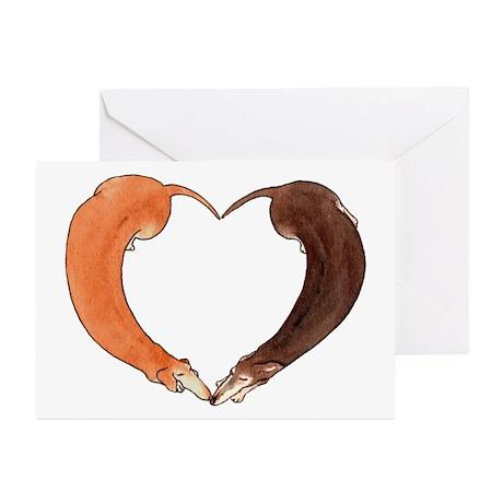 Dachshund Heart Anniversary Greeting Cards (Pk of
