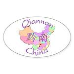 Qiannan China Map Oval Sticker (10 pk)
