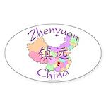 Zhenyuan China Map Oval Sticker