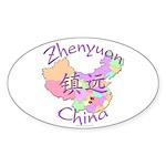 Zhenyuan China Map Oval Sticker (10 pk)