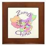 Zunyi China Map Framed Tile
