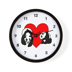 Panda Bear Love Wall Clock