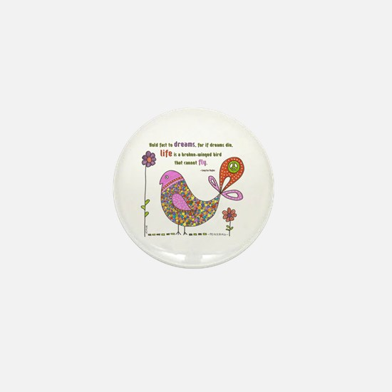 Langston Hughes Peacebird Mini Button
