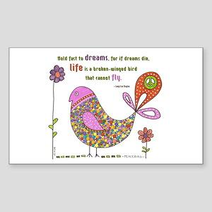 Langston Hughes Peacebird Rectangle Sticker
