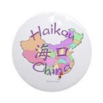 Haikou China Map Ornament (Round)