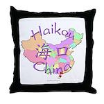 Haikou China Map Throw Pillow