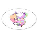 Haikou China Map Oval Sticker (10 pk)
