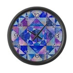 Blue Quilt Watercolor Large Wall Clock