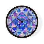 Blue Quilt Watercolor Wall Clock