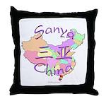 Sanya China Map Throw Pillow