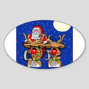 Reindeer Humor Oval Sticker