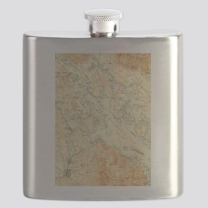 Vintage Map of Lake Winnipesaukee (1907) Flask