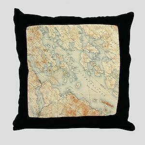 Vintage Map of Lake Winnipesaukee (19 Throw Pillow