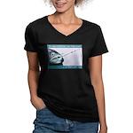 Hook Pain Women's V-Neck Dark T-Shirt