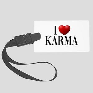 I Love Karma Large Luggage Tag