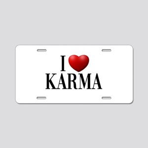 I Love Karma Aluminum License Plate