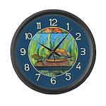 Tie Dye Turtle Watercolor Large Wall Clock
