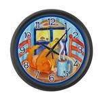 Tea for Me (Cat) Large Wall Clock
