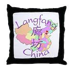 Langfang China Map Throw Pillow