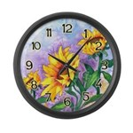 Sunny Sunflowers Watercolor Large Wall Clock