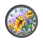 Sunny Sunflowers Watercolor Wall Clock