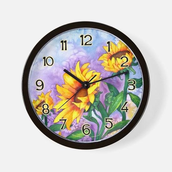 Sunny Sunflowers Watercolor Wall Clock