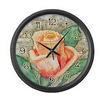 Peach Rose Watercolor Large Wall Clock