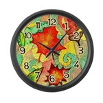 Autumn Wind Watercolor Large Wall Clock